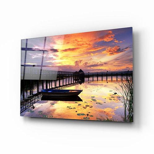 Sunset UV Printed Glass Painting the Docks