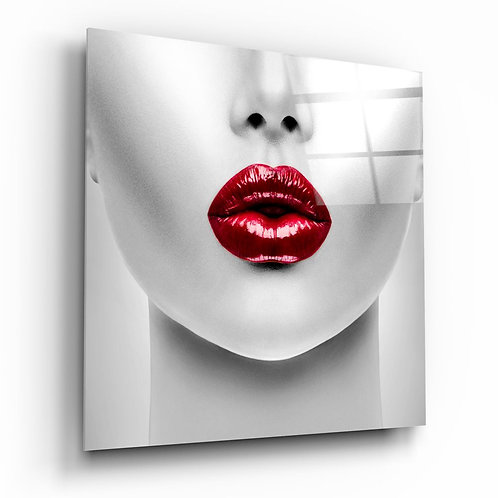 Red Lipstick Woman UV Printed Glass Printing