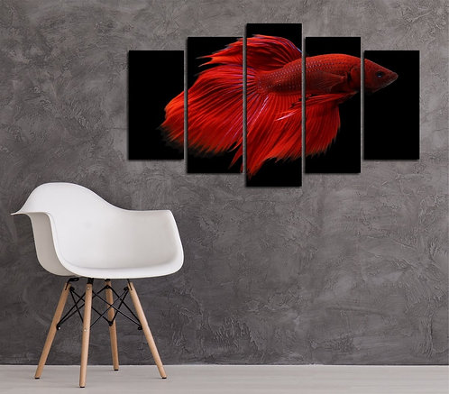 Red Betta Fish 5 Pieces MDF Painting