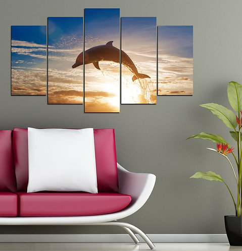 Dolphin 5 Pieces MDF Painting