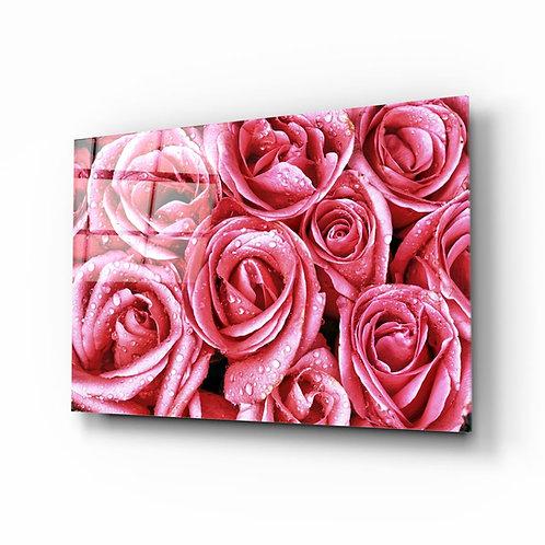 Pink rose UV Printed Glass Printing