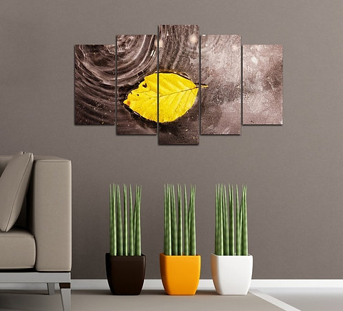Yellow Leaf 5 Pieces MDF Painting