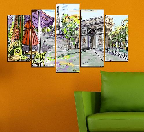 Cafe de Paris 5 Pieces MDF Painting