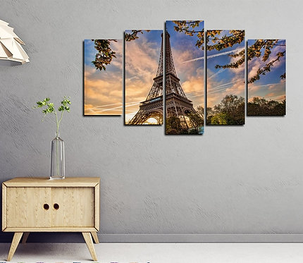 Eiffel Tower 5 Pieces MDF Painting