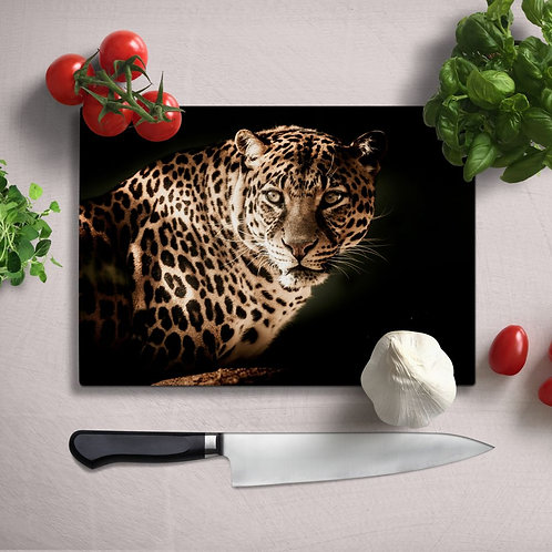 Leopard Uv Printed Glass Chopping Board 35x25cm