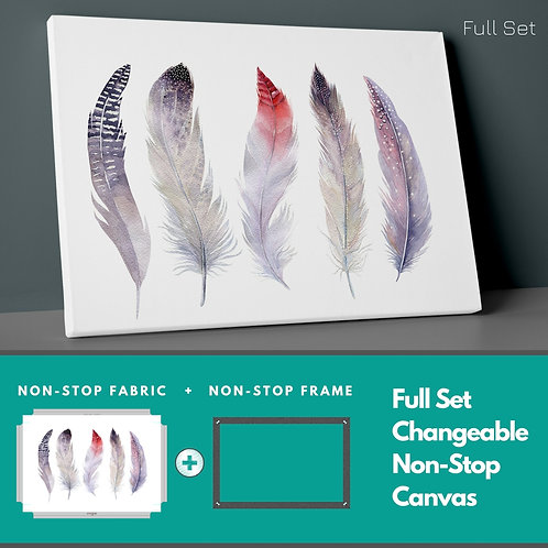 Boho Colored Feathers Non-Stop Canvas Printings
