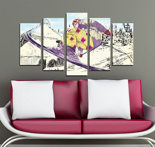 Slalom 5 Pieces MDF Painting