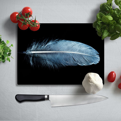 Blue Feather Uv Printed Glass Chopping Board 35x25cm