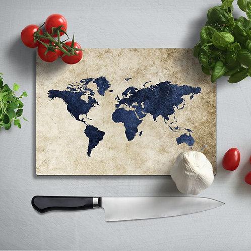 World Map Uv Printed Glass Chopping Board 35x25cm