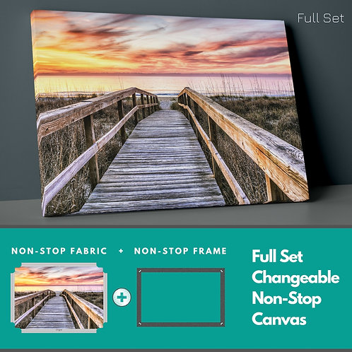 Wooden Path And Sunset Non-Stop Canvas Printings