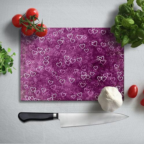 Hearts Uv Printed Glass Chopping Board 35x25cm