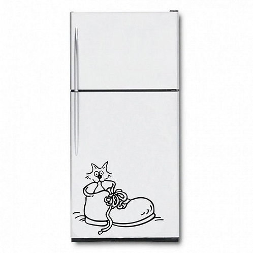 Boots And Cat Fridge  Wall Sticker