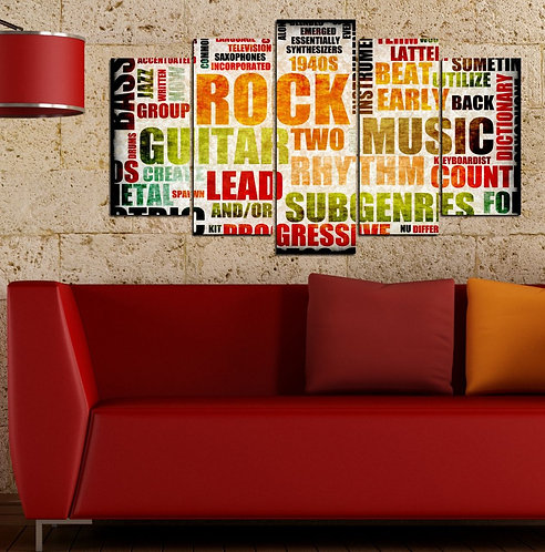 Rock 5 Pieces MDF Painting