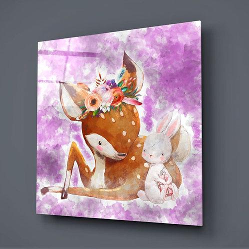 Gazelle and Rabbit UV Printed Glass Printing