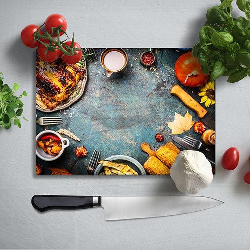 Beautiful Tableware Uv Printed Glass Chopping Board 35x25cm