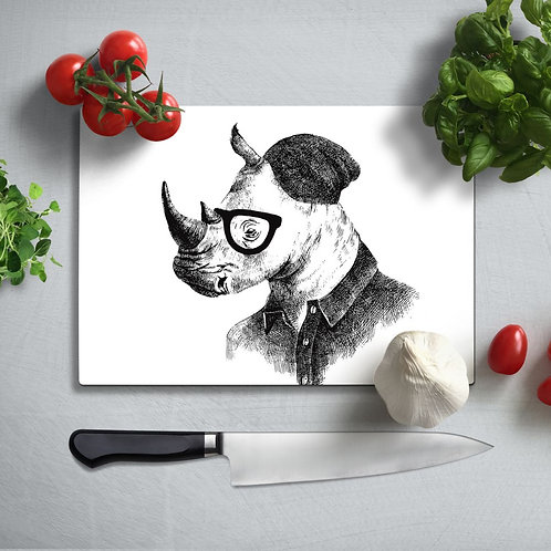 Rhino Uv Printed Glass Chopping Board 35x25cm