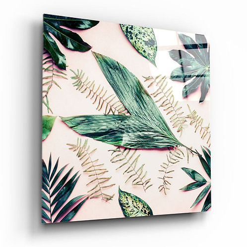 Tropical Leaves UV Printed Glass Printing