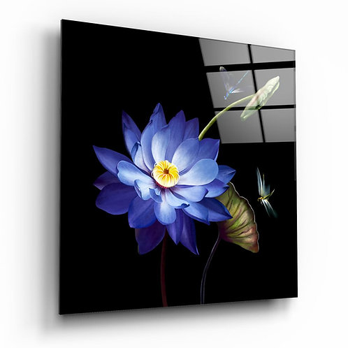 Blue Flower UV Printed Glass Printing
