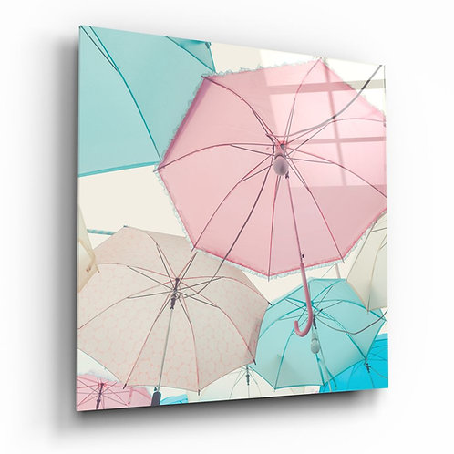 Colorful Umbrellas UV Printed Glass Printing