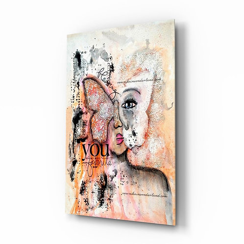Abstract Woman UV Printed Glass Painting