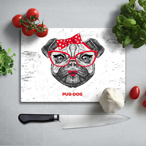 Pug Dog UV Printed Glass Chopping Board 35x25cm