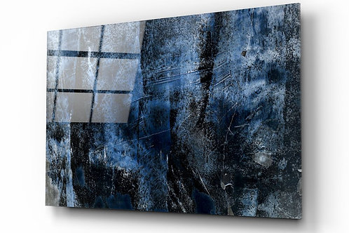 Blue Abstract Pattern Glass Painting