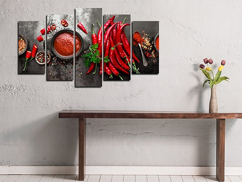 Hot Red Pepper 5 Pieces MDF Painting