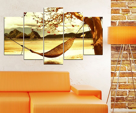 Hammock in Sunset 5 Pieces MDF Painting