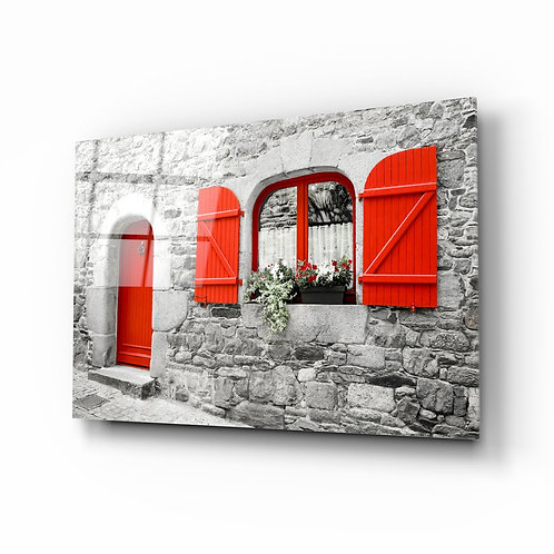 Red Door UV Printed Glass Printing