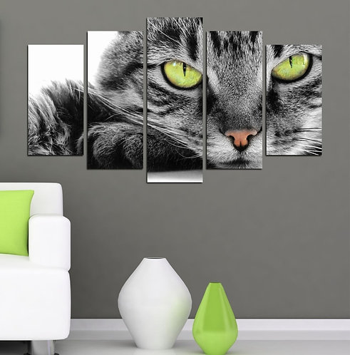 Cat (4) 5 Pieces MDF Painting