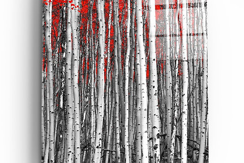 Red Forest UV Printed Glass Painting