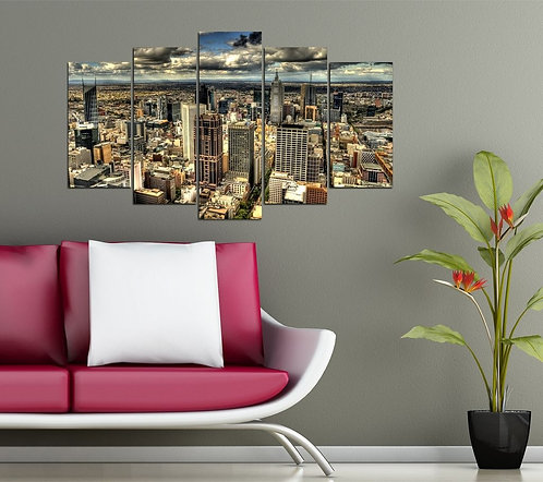 Hd City 5 Pieces MDF Painting