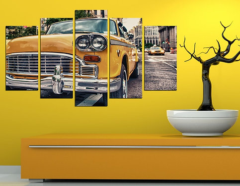 Taxi 5 Pieces MDF Painting
