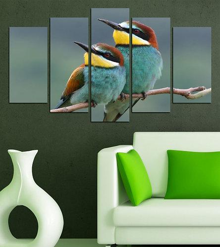 Bird 5 Pieces MDF Painting