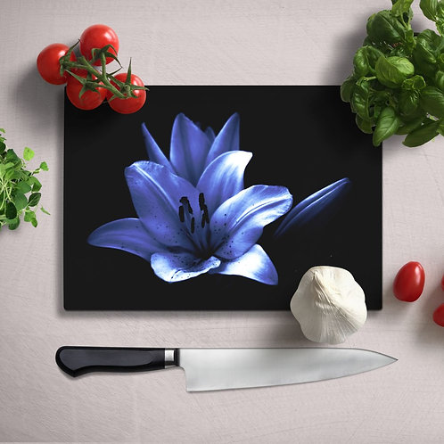 Purple Flower Uv Printed Glass Chopping Board 35x25cm