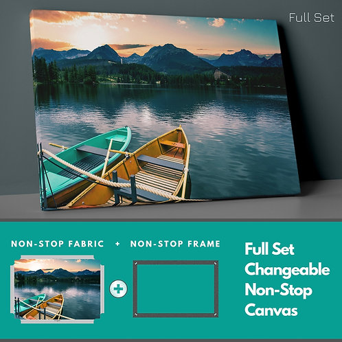 Boats And Lake Non-Stop Canvas Printings