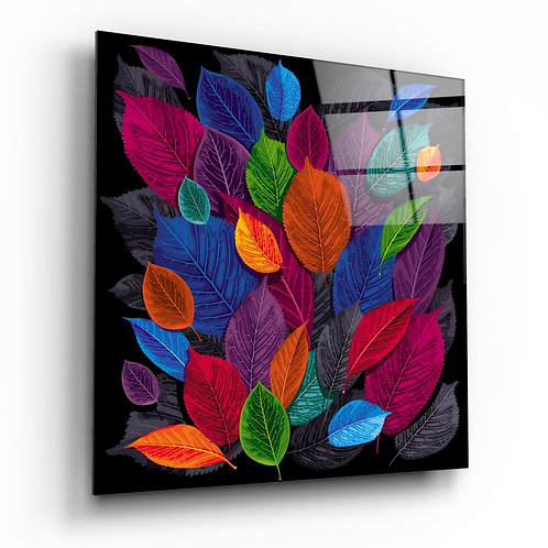 Colored Leaves UV Printed Glass Printing