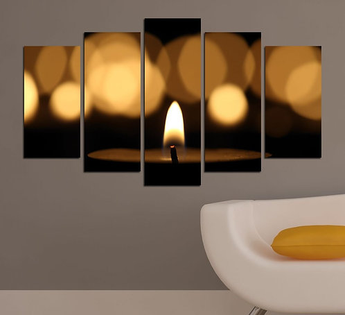 Candles (3) 5 Pieces MDF Painting