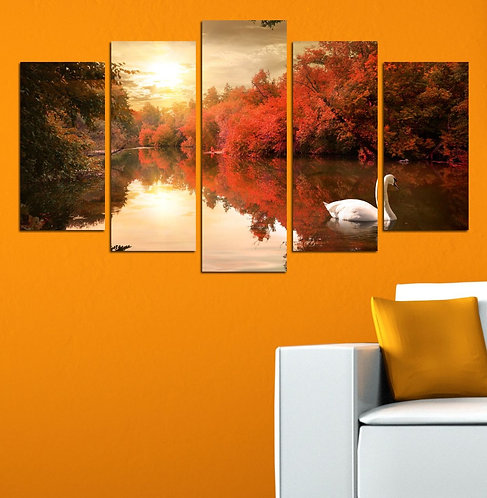 Swan (2) 5 Pieces MDF Painting