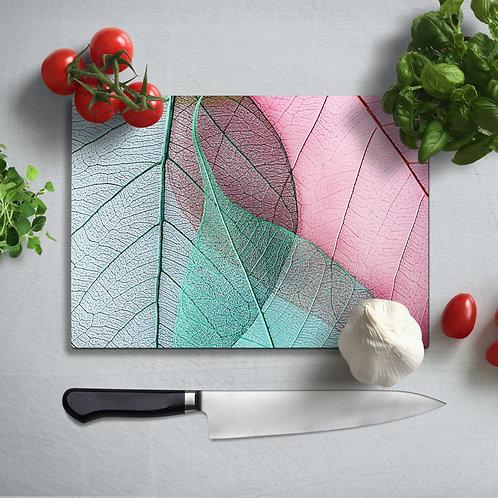 Leaf Uv Printed Glass Chopping Board 35x25 cm