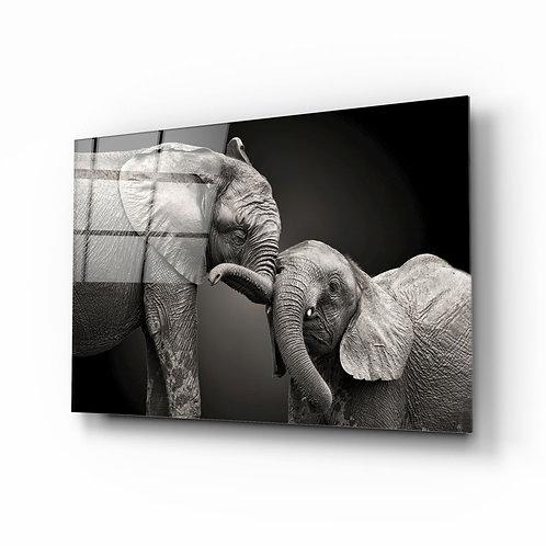 Elephants UV Printed Glass Painting