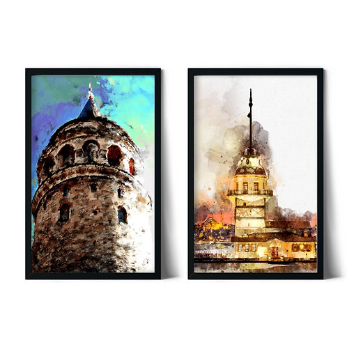 Galata and Maiden's Tower Framed Combination Table