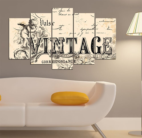 Vintage (2) 5 Pieces MDF Painting