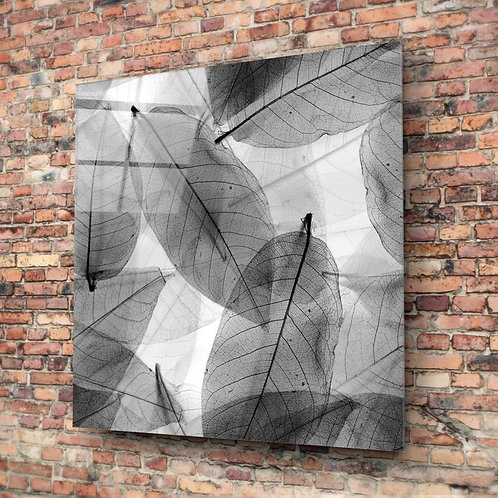 Black and White Leaves UV Printed Glass Painting