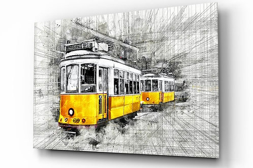 Yellow Tram Basel UV Printed Glass Painting