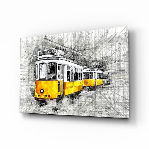 Yellow Tram Basel UV Printed Glass Printing