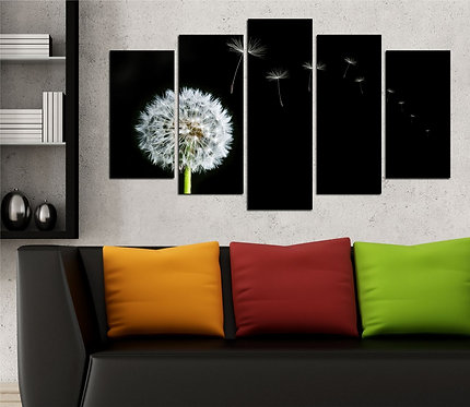 Dandelion flower 5 Pieces MDF Painting
