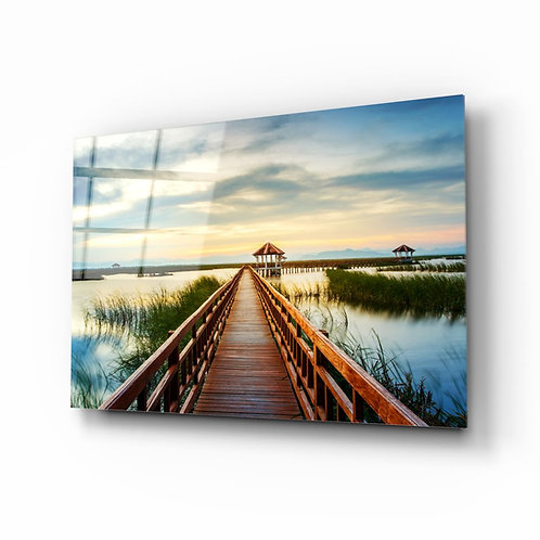 Long Dock UV Printed Glass Painting at the Lake