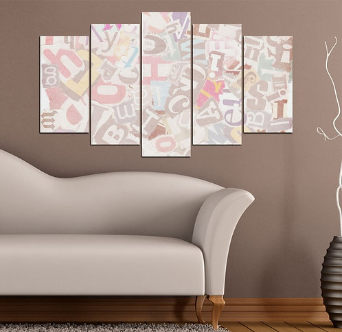 Abstract (6) 5 Pieces MDF Painting