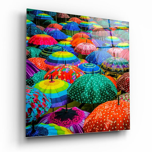 Colorful Umbrellas UV Printed Glass Painting